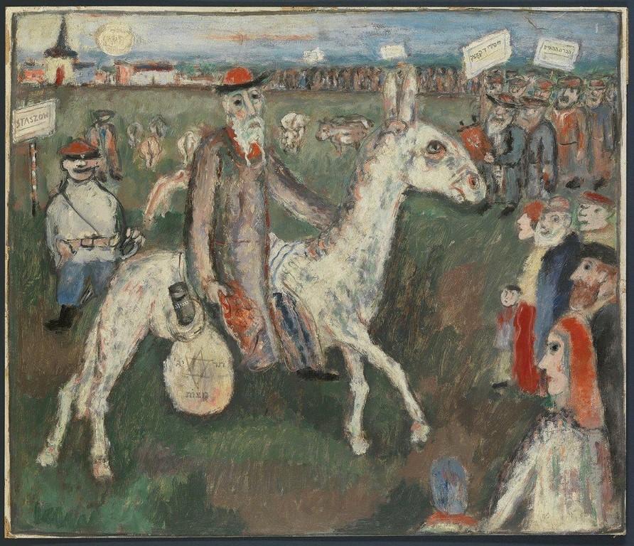 יחזקאל קירשנבאום, הכפריים היהודיים מקבלים את פני המשיח, 1937 , שמן על קרטון, 59×69 , מעזבונו של האמן-s (Medium)