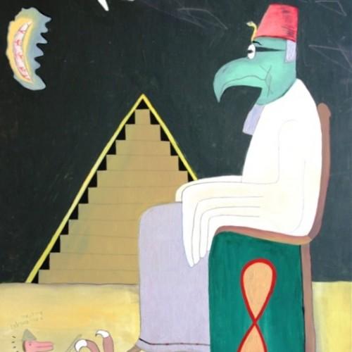 """""""הגדת ראשי הציפורים"""", 1975, אקריליק על דיקט, 52X77 ס""""מ, עיזבון האמן, מס' אוסף – צ-2346"""
