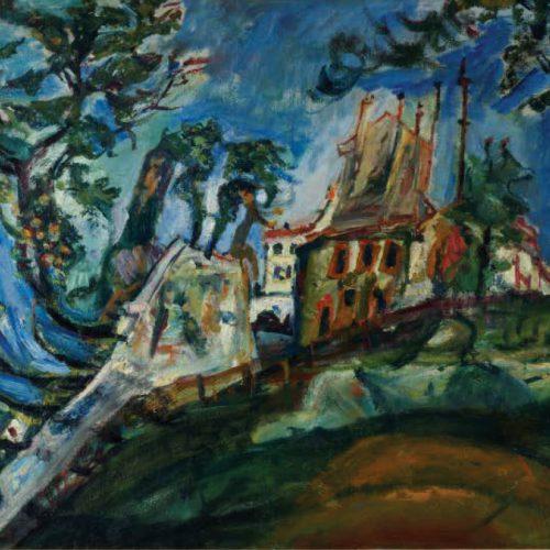 חיים סוטין, נוף במונמארט, 1919 בקירוב, שמן על בד, מתנת מר וגברת ג'ורג' פרידלנד מירון, פנסילבניה, 1957, מוזיאון תל אביב לאמנות צילום מרגריטה פרלין. (2)